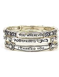 Footprints Prayer Stretch Bracelet (Matthew 8:19) Inspirational Stack Trio Silver Tone with Crystals