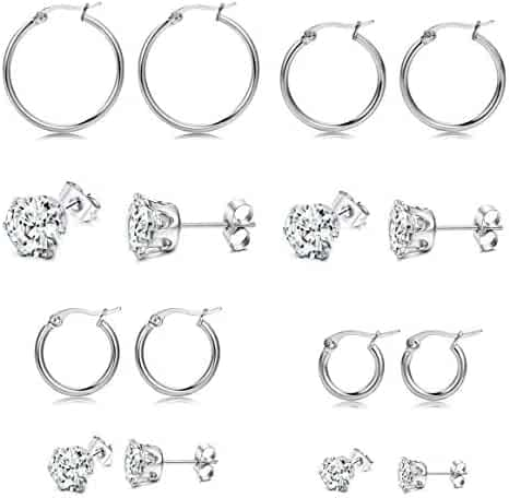 ca7c23078 FIBO STEEL 8 Pairs Stainless Steel CZ Stud Earrings Hoop Earrings for Men  Women Piercing Earrings