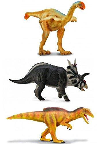 CollectA Realistic Prehistoric Dinosaur Replica Set of 3: Becklespinax (88221), Xenoceratops (88660), Gigantoraptor (88307)