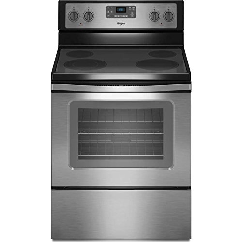 "Whirlpool WFE515S0ES 5.3 Cu. ft. Capacity Electric Range with Self-Cleaning System, 30"", Black/Stainless"