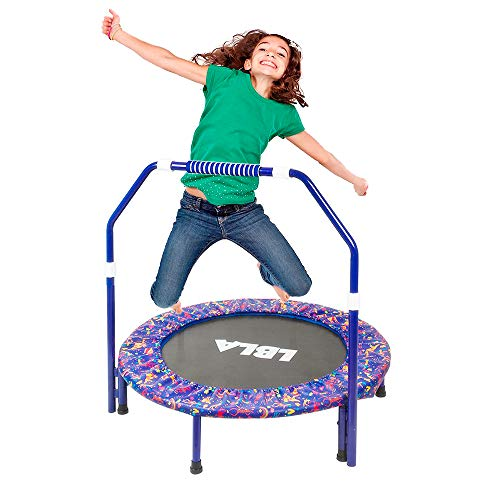 (Ealing Kids Trampoline with Adjustable Handrail and Safety Padded Cover, Round Seaside Adventure Trampoline Mini Bouncer Mini Foldable Bungee Rebounder Jumping Mat)