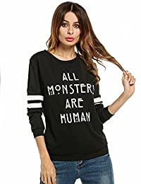 Meaneor Women's Christmas Letter Print Pullover Hoodies and Blouse