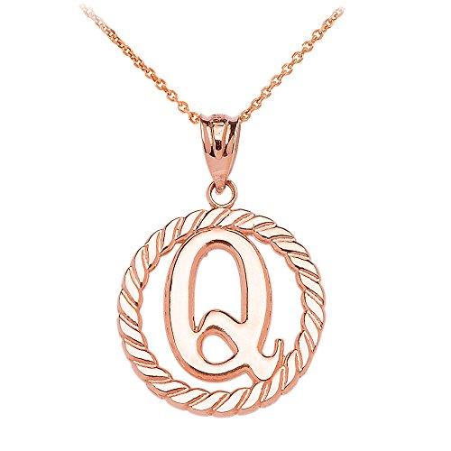 """Collier Femme Pendentif 10 Ct Or Rose """"Q"""" Initiale À Corde Cercle (Livré avec une 45cm Chaîne)"""