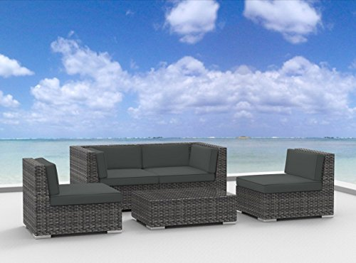 Urban Furnishing - RIO 5pc Modern Outdoor Backyard Wicker Rattan Patio Furniture Sofa Sectional Couch Set - Charcoal (Gray) (Urban Patio Garden)