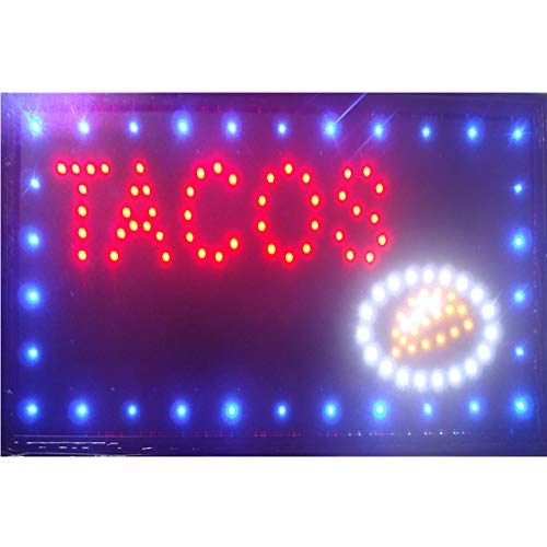 CHENXI Led Pizza Burger panini hot Dog Hamburger Tacos Shop Open Sign Direct Selling Custom Graphics Indoor Running 48X25 cm Food Store led Sign (48 X 25 cm, F) ()