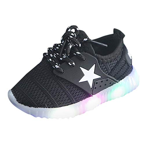 (Nadition Creative Fashionable Children Running Non-Slip Soft Sneakers Toddler Shoes with Led Lights for Child Black)