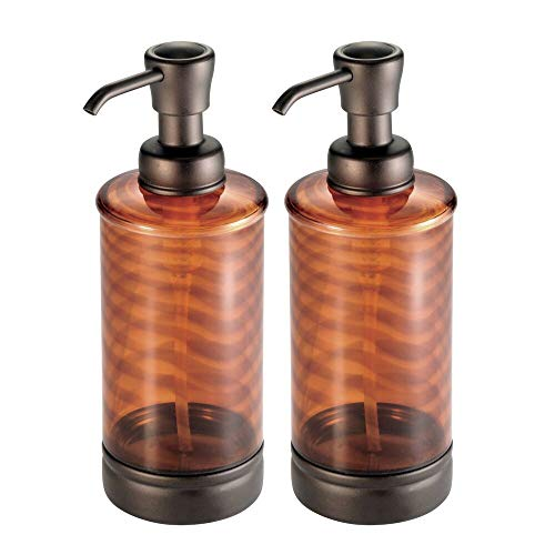 mDesign Decorative Plastic Refillable Liquid Soap Dispenser Pump Bottle for Bathroom Vanity Countertop, Kitchen Sink - Holds Hand Soap, Dish Soap, Hand Sanitizer, Essential Oils - 2 Pack - Brown