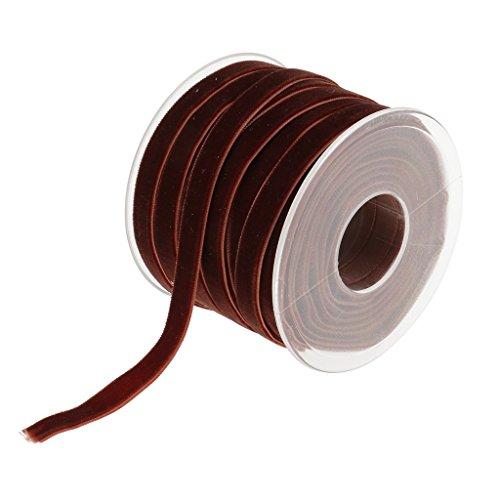 - MonkeyJack 20 Yard 10mm Wide Velvet Ribbon Roll for Crafts Embellishments - Coffee