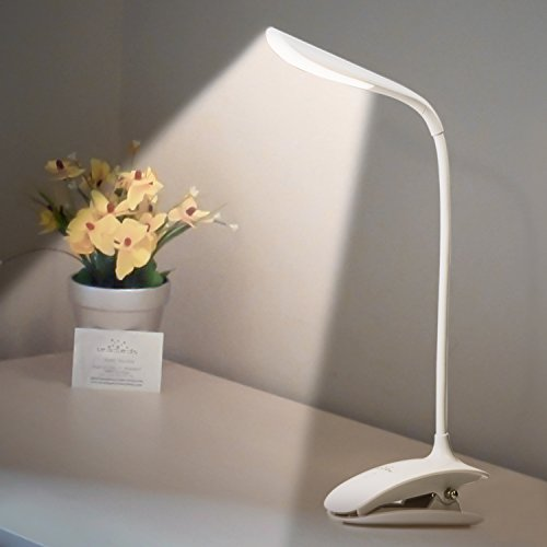 Leadleds Flexible Touch Switch Clip on Reading Light 3-levels Brightness Adjustable LED Desk Lamp for bed, study and office (White Lights)