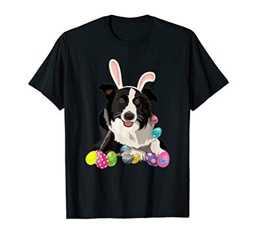 Border Collie Dog Bunny Rabbit Hat Easter Eggs Shirt ()