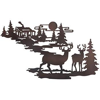 Amazon.com: Woodland Cabin & Deer Metal Wall Art (1): Home