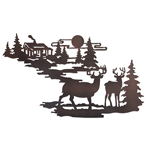Deer & Woodland Cabin Metal Wall Art - Iron Deer Wall Decor- Forest Cabin Wall Decor- Rustic Metal Wall Cabin & Deer Hanging Kit- Deer Relief Metal Wall Art