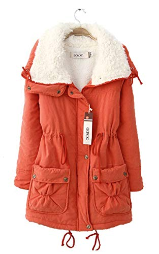 aux Sheep Curl Collar Parkas Sherpa Fleece Lined Jacket Coat Mid Length Outwear Orange XXXL (fits Like US 14) ()