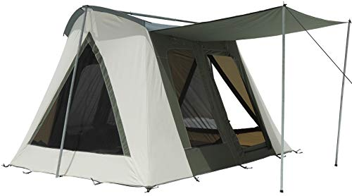 4 Season Heavy Duty 100% Cotton Canvas Luxury Family Camping Tent, Bug Mesh, Silver Coated Roof, Large Windows & D-Shaped Doors Deluxe Range (Olive, 10'x10′)
