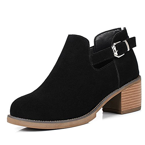 Mid DecoStain Women's Black Heel Suede Leather Nubuck Zip Cow Boots HxHqYdwr