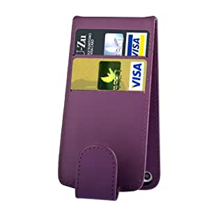 G4GADGET–Funda de piel sintética con dos compartimentos para tarjetas de crédito con tapa para iPhone 5C, color morado
