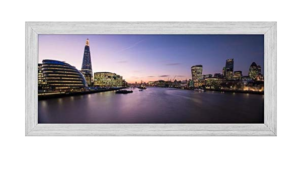 Amazon Com Easy Art Prints Panoramic Images S View Of The Shard And City Hall From Tower Bridge Southwark London England Premium Framed Canvas Art 40 X 16 Brazilian Barnwood Frame Posters