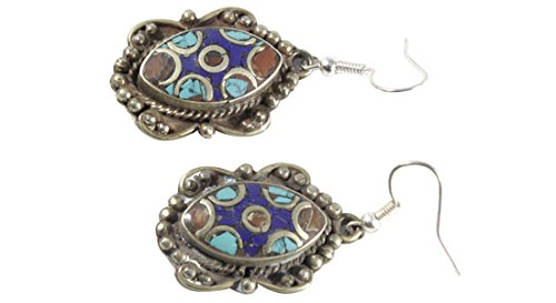 Juccini Tibetan Stone Inlay Dangle Earrings Silver Hoop 'Imprinted Eye'
