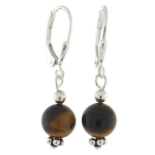 (Sterling Silver 8mm Gemstone Bead Lever Back Bottom Dot Flower Earrings, Tiger Eye)