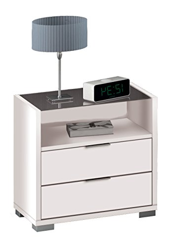 Mesita de noche color blanco brillo, balda de cristal y 2 cajones con guías metálicas de dormitorio. 58cm altura x 56cm ancho x 39cm fondo