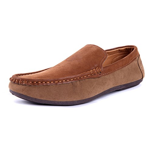 Gaorui Mens Faux Suede Casual Loafers Moccasins Slip On Driving Shoes Comfortable Shoes Khaki