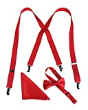 Boys Red Suspender Bow Tie Set with Matching Pocket Hanky, Ages 5 to 10