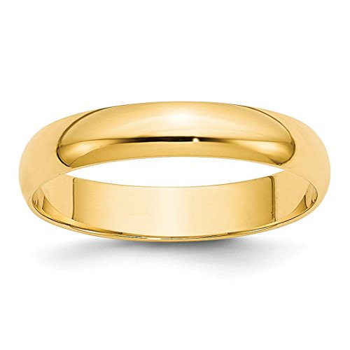 Platinum 950 Domed Wedding Band - 14k Yellow Gold 4mm Ltw Half Round Wedding Ring Band Size 10 Classic Fine Jewelry For Women Gift Set