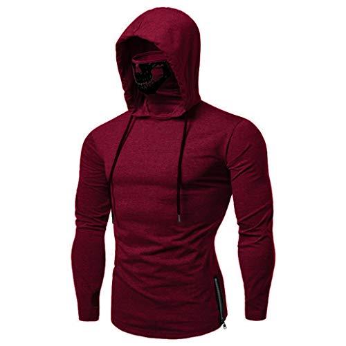 Realdo Mens Hoodie, Mens Skull Mask Pullover Casual Solid Zip Long Sleeve Hooded Sweatshirt Tops]()