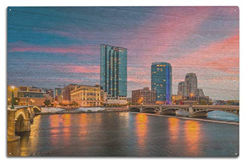 - Lantern Press Grand Rapids, Michigan - View of Downtown at Dusk - Photography A-92522 (10x15 Wood Wall Sign, Wall Decor Ready to Hang)