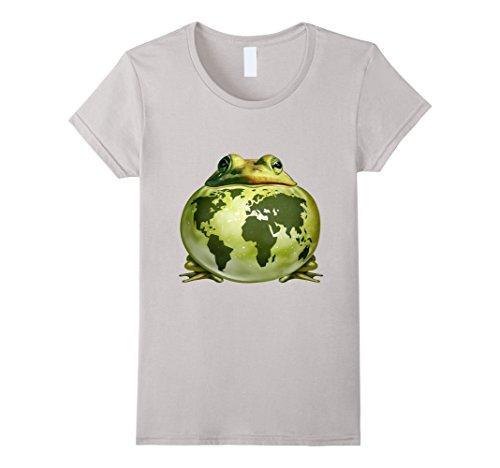 Women's Environmental Nature Frog T-Shirt Medium Silver