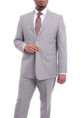 Prontomoda Europa Classic Fit Light Gray Windowpane Plaid Merino Wool Suit