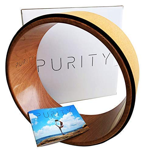 Purity Wave Cork Yoga Wheel – Eco-Friendly, Strong and Most Comfortable Dharma Yoga Prop Wheel, Perfect for Stretching and Improving Backbends, 12.5 x 5.1 Inch, Instructional Booklet Included