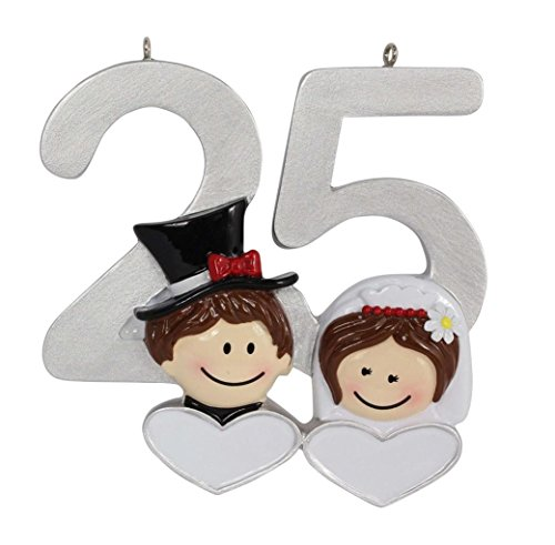 (Personalized 25th Anniversary Ornament Silver Wedding Gift)