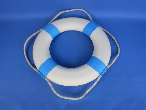 Decorative White Lifering with Light Blue Bands 15'' - Beach Decoration - Life Ring by Handcrafted Model Ships (Image #4)