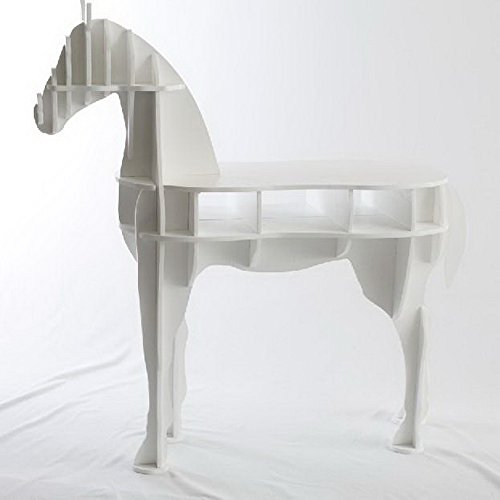 OTHER Home Office Wooden Horse Style Desk, White Color by OTHER