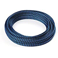 nidici 8mm Flexo PET Expandable Braided Sleeving Snakeskin Mesh Wire Protecting Cotton Plus PET Nylon Cable Sleeve for RC Brushless Motor and ESC FPV Quadcopter(pack of 32.8 feet) (blue)