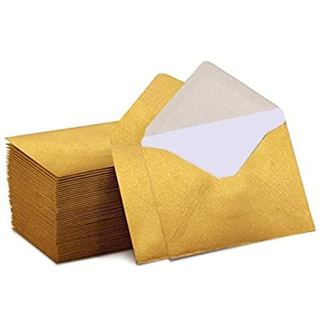 Gold Mini Envelopes 140 Mini Envelopes with White Blank Note Cards 4x 2.7 for Business Cards Gift Cards