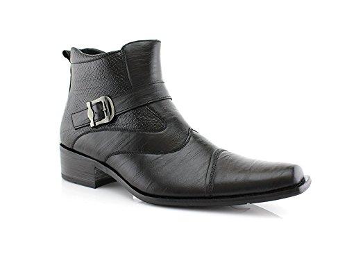 Delli Aldo Men's Ankle High Dress Boots | Buckle Strap | Shoes | Black 7