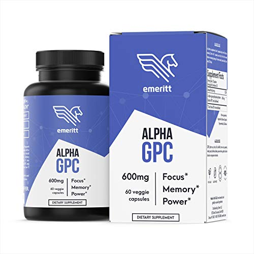 Alpha GPC Choline - 60 Vegan Caps, No Filler, No Soy, Pharmaceutical Grade - 600 mg Servings to Boost Brain Focus, Memory and Power - Supplement Made in USA - Emeritt