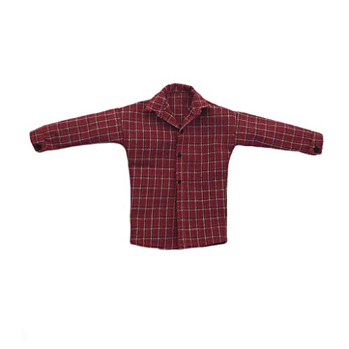 FidgetGear 1/6 Scale Red Plaid Shirt Long Sleeve Button for 12'' Action Figure from FidgetGear