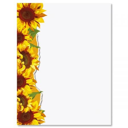 (Sunflowers Floral Letter Papers - Set of 25 Spring Stationery Papers are 8 1/2