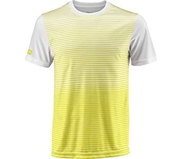 Wilson Camiseta deportiva de hombre, M Team Streaped Crew, Poliéster, Amarillo/Blanco