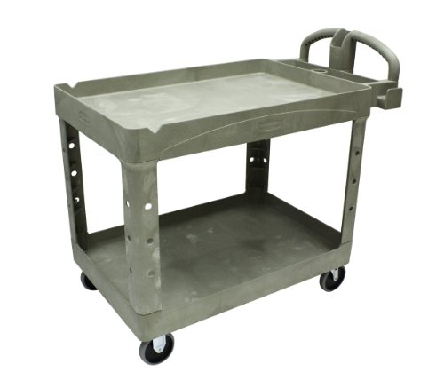 Rubbermaid Commercial Polypropylene Service Cart with Lipped Shelf, 2 Shelves, Beige, 2000 lbs Load Capacity, 33-1/4