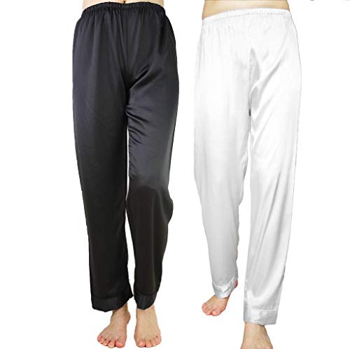 Wantschun Womens Satin Silk Sleepwear Pyjamas Long Pants Nightwear Loungewear Pajamas Bottom Trousers Pack of 2:Black+White US XL (Asia 4XL) -