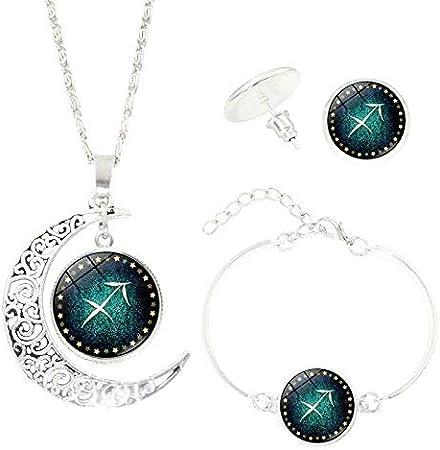 Lukame✯Ensemble de Trois Pi/èces de Collier de Constellation Time Gem Boucle DOreille de Collier de Demi-Lune de Constellation Des Femmes 12 B/élier