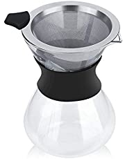 13.5oz Pour Over Coffee Maker, Borosilicate Glass Coffee Pot with Stainless Steel Filter for Home Office Caferoom