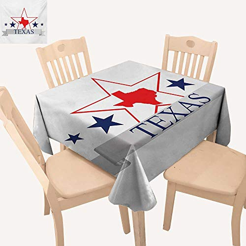Texas Star Jacquard Tablecloth San Antonio Dallas Houston Austin Map with Stars Pattern USA Summer Table Cloths Navy Blue Vermilion Pale Grey W 36