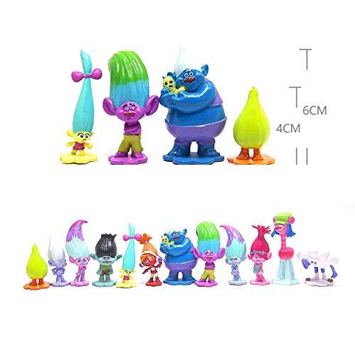 Vndaxau Troll Dolls Cake Toppers Toys Trolls Figurines Poppy and Branch 12pcs Set