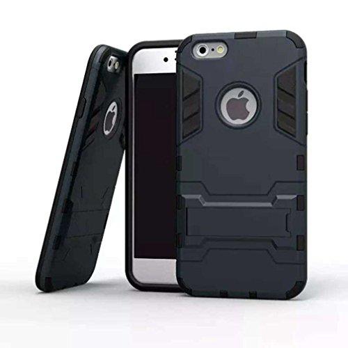 """AOFad Bleu Marine Coque Pour iPhone 6S Plus,[5.5""""] iPhone 6 Plus Case, Béquille Vidéo, Protection des lourds Plastique TPU 2 à 1 Série TE840"""