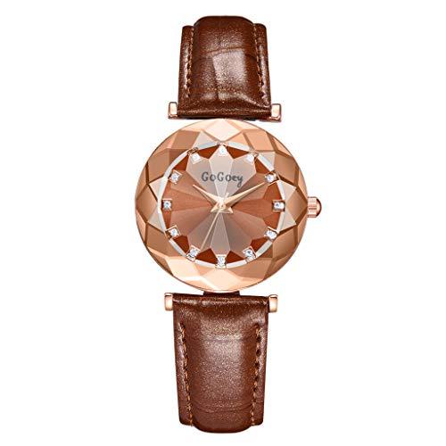 LUCAMORE Women Concise Halo Temperament Watches Ladies Fine Quartz Analog Wrist Watch Leather Strap Bracelet Jewelry Gift